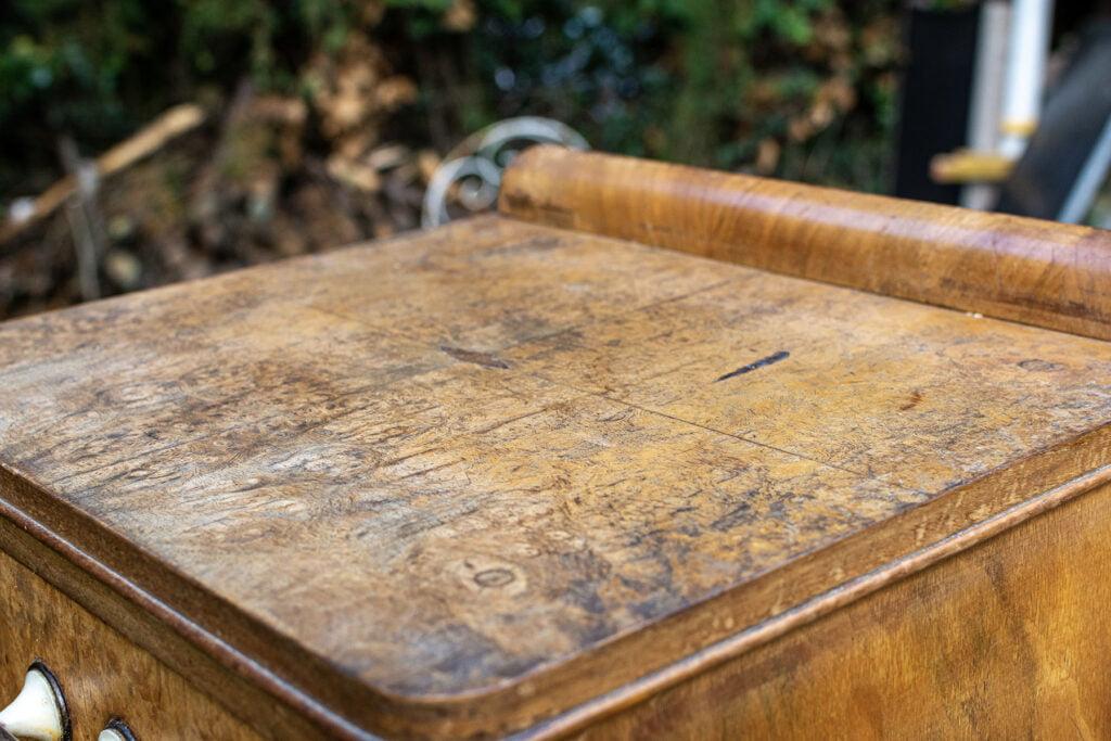 Plateau de meuble avant restauration